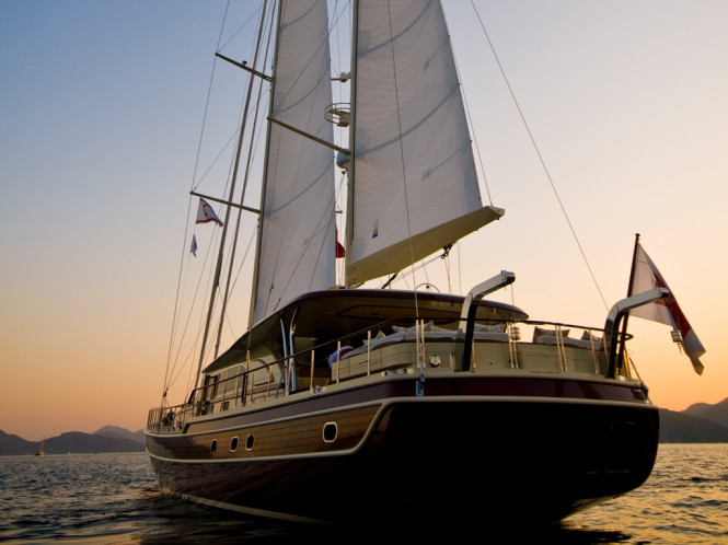 Sailing Yacht DAIMA - Aft at Sunseet